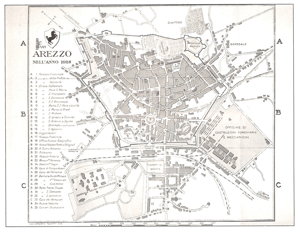 1928  Piantina di Arezzo dell'ingegner Umberto Tavanti