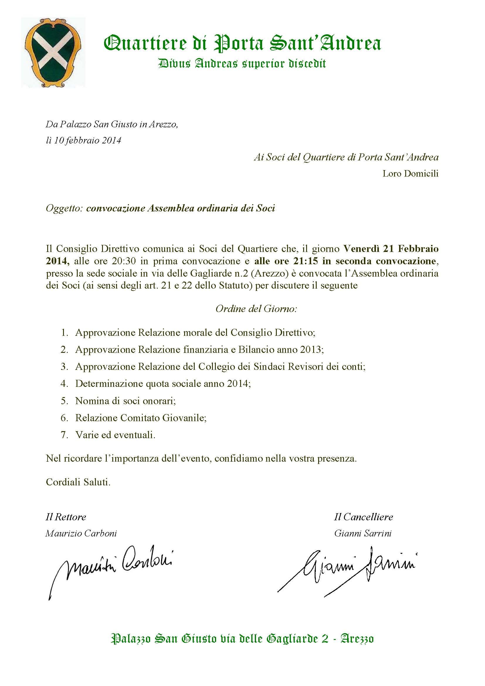 2014 convocazione ASSEMBLEA SOCI